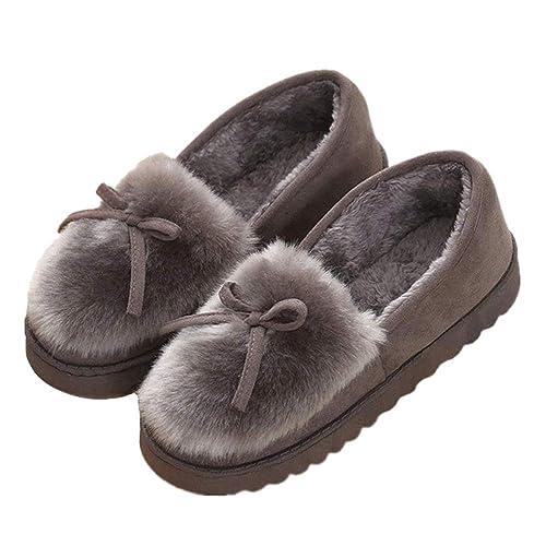 Minetom Mujer Zapatillas Zapatos De Mocasín Invierno Calienta Comodidad Pantuflas Slipper De Algodon Slip On Afelpado Calentar: Amazon.es: Zapatos y ...
