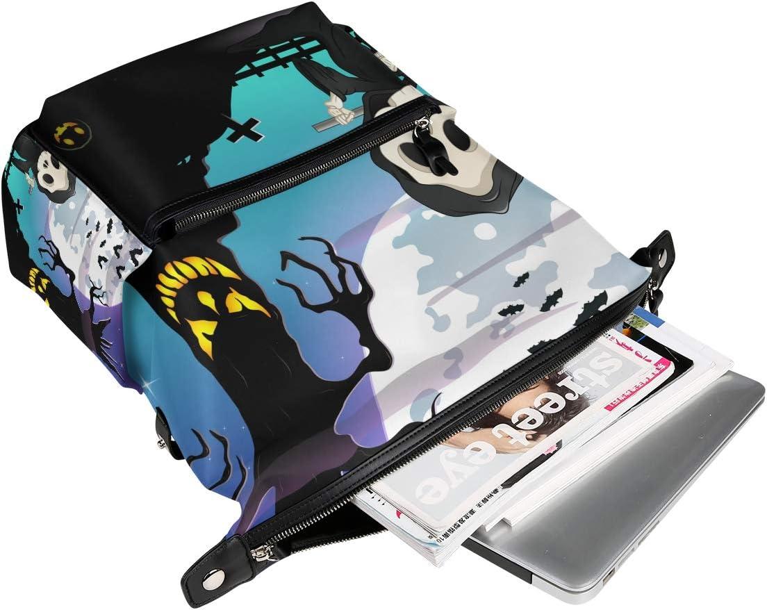 Backpack Rucksack Travel Daypack Halloween Moon Skull Pumpkin Book Bag Casual Travel Waterproof