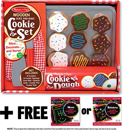 Slice & Bake Cookies Set - Play Food Set + FREE Melissa & Doug Scratch Art Mini-Pad Bundle [40747] (Felt Food Sandwich Set compare prices)
