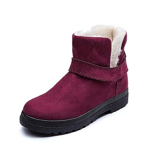 Botas Mujer Invierno Zapatos de Nieve Botines Calientes Planos Ante Forradas Pelaje Casual Zapatillas Tobillo Beige Negro Gris 35-43 RD43: Amazon.es: ...