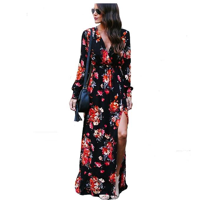 Cheng Xiang Women s Sexy Ladies Deep V Neck Floral Print Flowy Party Maxi  Dress (S 6b564a9b1