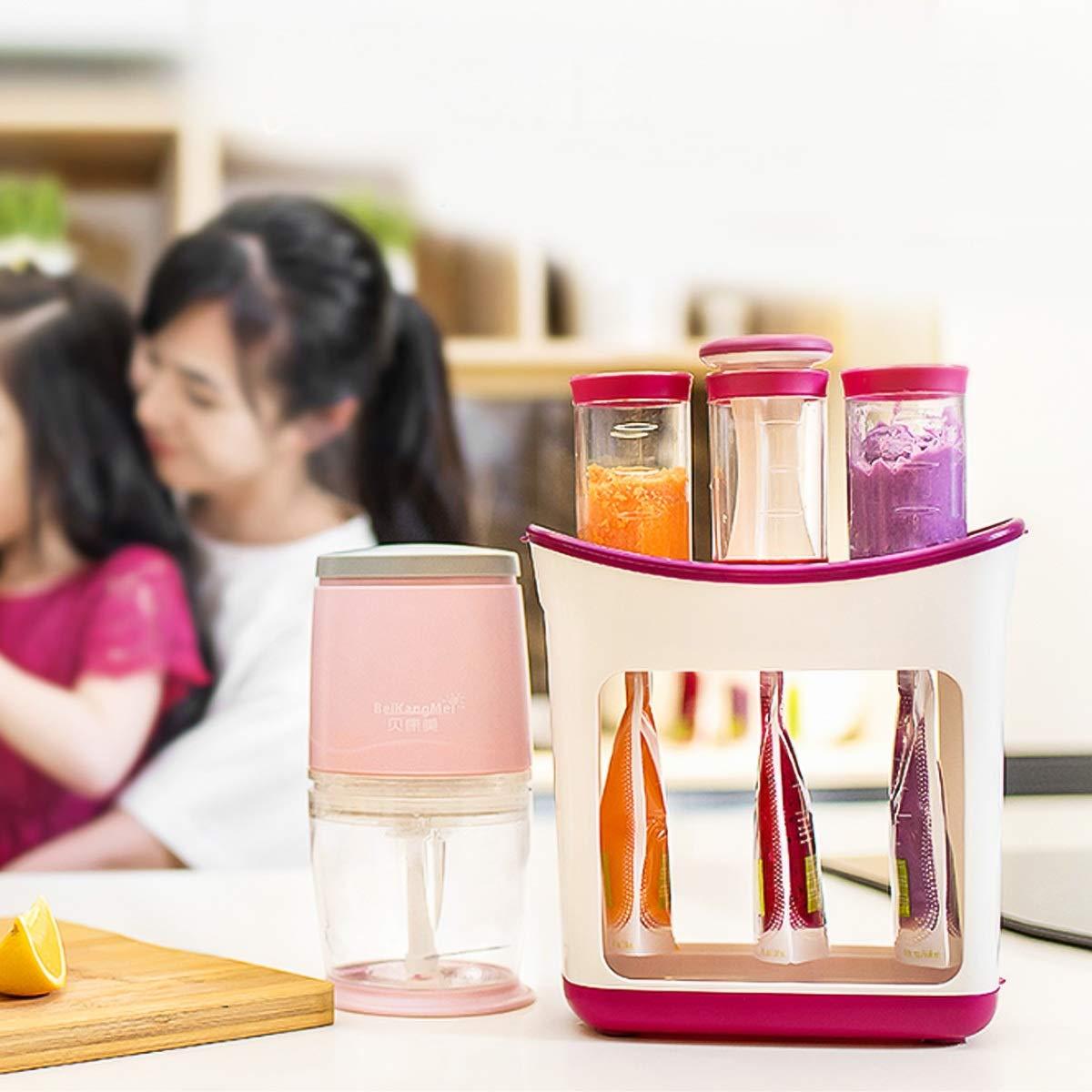Squeeze Station de jus de fruits frais fait maison Fabricant de nourriture pour b/éb/é avec sacs de rangement