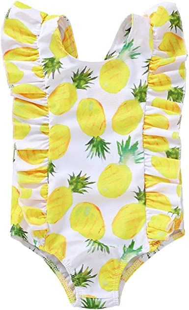 Toddler Baby Girls Swimsuit One Piece Mini Boss Print Ruffle Beachwear Backless Bikini Bathing Suits