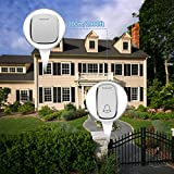 Bodyguard Wireless Doorbell,Waterproof Chime Kit Operating at 1000ft with 1 Push Button Transmitter(Battery included)and 2 plug-in Receivers,36 Chimes,4 Level Volume LED Indicator - white