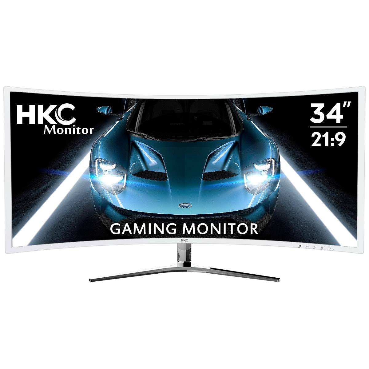 HKC 34-inch Curved 21 9 Ultrawide 3440x1440p QHD Professional Gaming Monitor 100Hz AMD FreeSync PIP Display