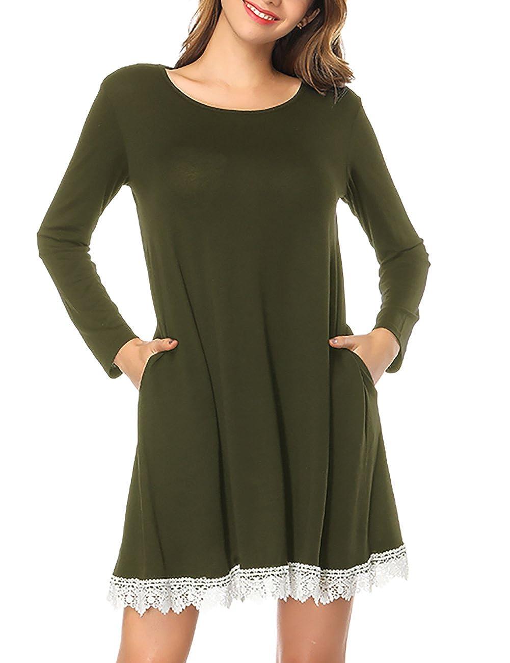 Omerker Womens Long Sleeve Pockets Lace T Shirt Dress Knee Length