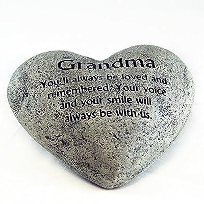 Gerson Heart Shaped Memory Stone for Grandma : Garden & Outdoor