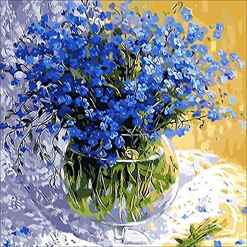 (Blue Flower Diamond Painting Art - PigBoss 5D DIY Full Drill Diamond Painting Crystal Diamond Dots Kit Home Decor Gift for Adult (11.8 x 11.8)