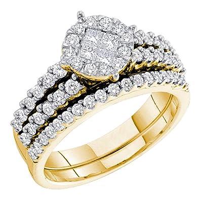 Amazon.com: Anillo de compromiso de oro amarillo de 14 ...