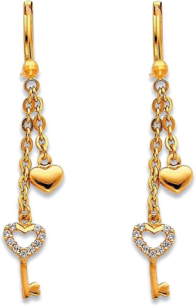 14 K Gold Heart Dangle Earrings