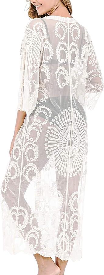 Womens Floral Crocheted Long Chiffon Mesh Swimwear Cover Up White Lace Kimono Cardigan Duster At Amazon Women S Clothing Store