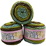Himalaya Sweet Roll knitting wool 3 x 140 gram multicolored with color gradient, 420 grams (15 oz) knitting yarn 735 yds (672 meters) (olive mint green 1047-26)
