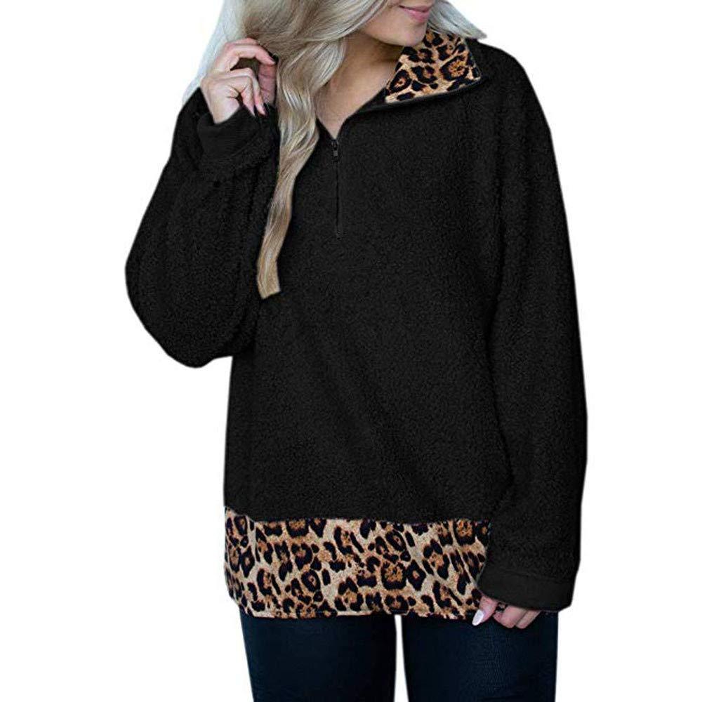 YanHoo Tops de Mujer Capa de Cremallera con Costuras de Felpa de Leopardo para Mujer Sudadera con Estampado de Leopardo y Cremallera Jumper Pullover ...