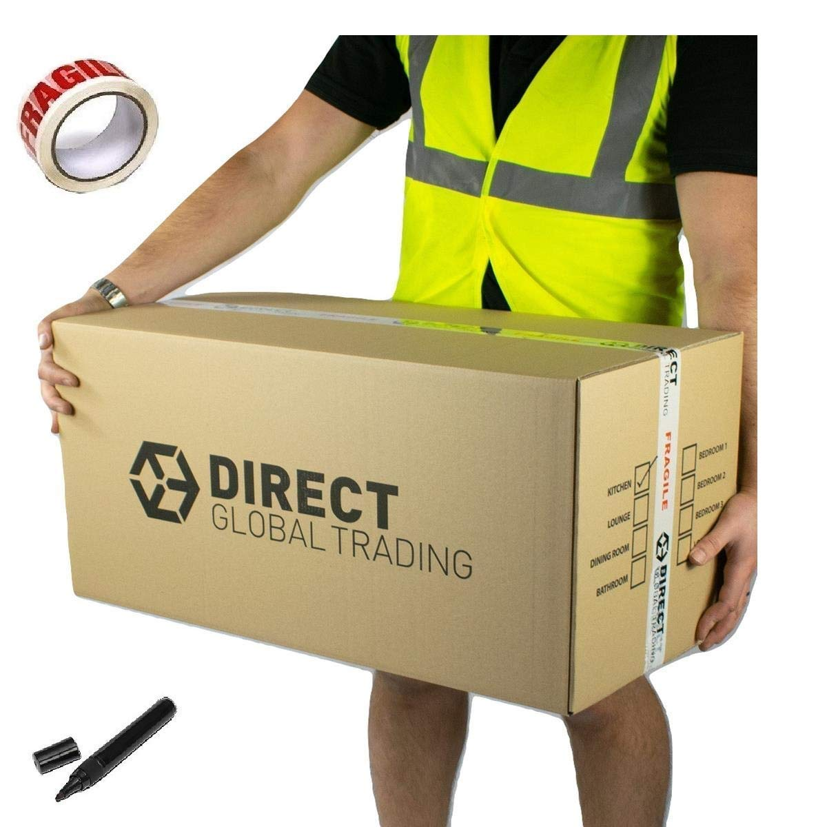 10 Strong Extra Long Large Cardboard Storage Packing Moving House Boxes Double Walled with Room List Free Quality Fragile Tape and Black Marker Pen 76cm x 36.5cm x 38cm Direct Global Trading