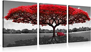 Youk-art Red Tree Photograph Printed on Canvas Painting for Bedroom Home Wall Decoration Livingroom Bathroom Decor