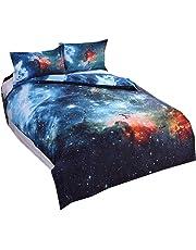 Parure de Lit pour Enfant 3D Galaxy Univers Ciel étoilé Étoiles Lunaire Licorne Coloré imprimé Housse de Couette Simple 140x200cm