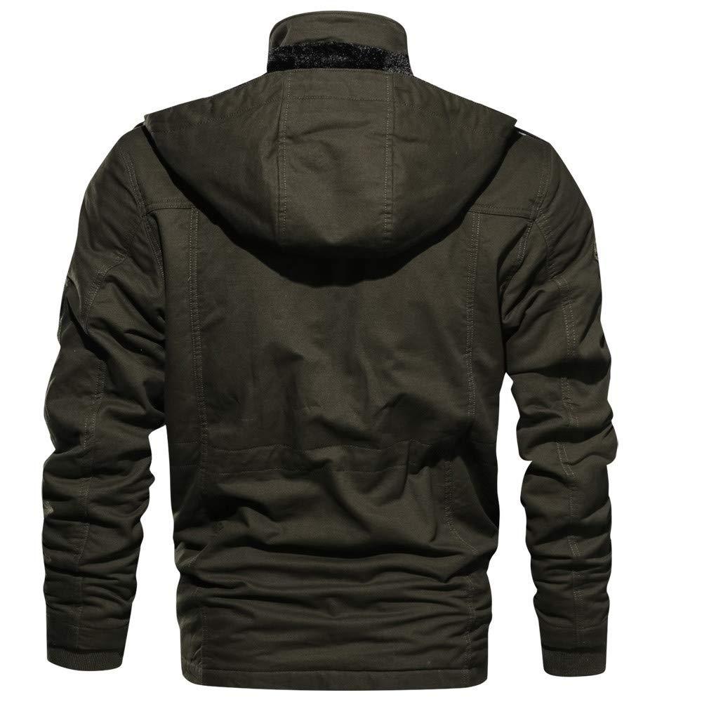 Big Daoroka Men's Autumn Winter Thick Warm Pocket Jacket Coat Pocket Cotton Long Sleeve Outwear Fashion Casual Blouse