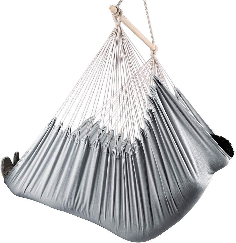 Chihee Silla de Hamaca XXL Silla de Hamaca de tamaño Extra Grande Silla giratoria Relax Tejido de algodón para Mayor Comodidad Durabilidad