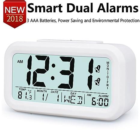 Despertadores electronicos, Relojes con 2 Alarma electronicos digitales multifuncionales, LED Digital despertador Reloj Repeticion activada por luz ...