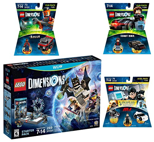 Lego Dimensions Demolition Starter Pack + Mission Impossible Level Pack + A-Team Fun Pack + Knight Rider Fun Pack for Nintendo Wii U Console by WB Lego