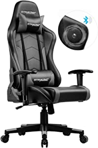 GTRACING Gaming Chair with Speakers Bluetooth Music Play Computer Office Video Game Chair Heavy Duty Ergonomic Desk Chair GT890M Gray