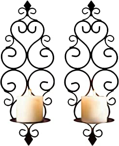 CALIDAKA Wall Candle Sconces, Retro Elegant Scroll Design Foldable Hanging Wall Mounted Decorative Candle Holder for Home Decorations, Weddings (5.51x3.54x14.8 inches)