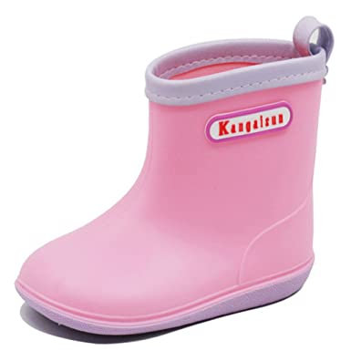 038ec9659853 Kids Rain Boots Wellington Shoes - Baby Wellies Comfortable Waterproof  Unisex Toddlers Rubber Shoes Childs Anti-slip Easy Clean for Boys Girls  ...