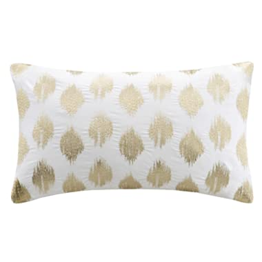 Ink+Ivy Nadia Dot Metallic Embroidery Pillow Oblong Gold