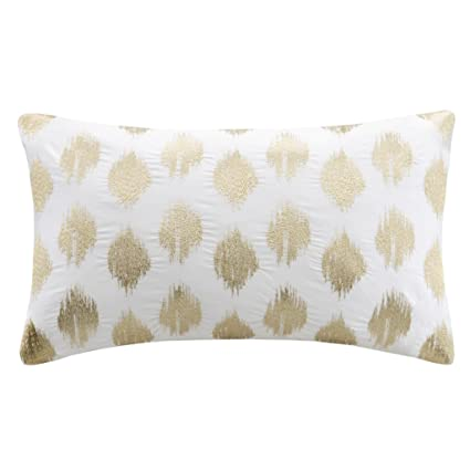 Amazon InkIvy Nadia Dot Metallic Gold Cotton Modern Throw Enchanting Better Homes And Gardens Ivory Dot Oblong Decorative Pillow