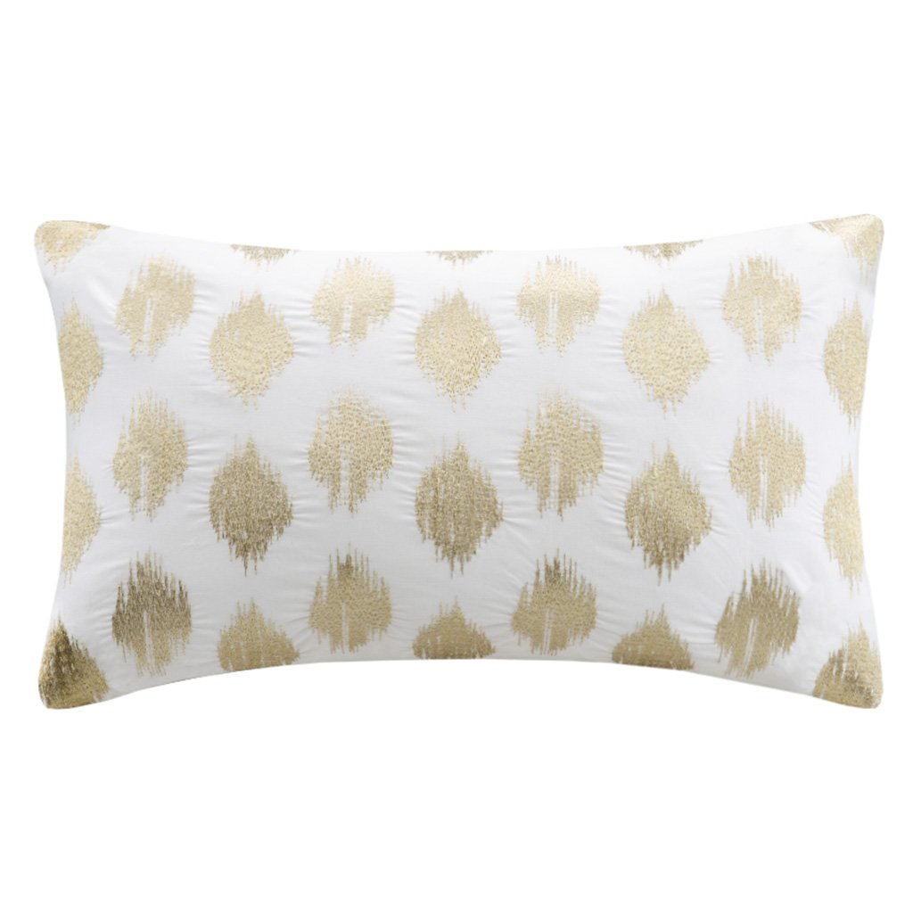 Ink+Ivy Nadia Dot Metallic Gold Cotton Modern Throw Pillow, Casual Embroidered Fashion Oblong Decorative Pillow, 12X18, Gold by Ink+Ivy
