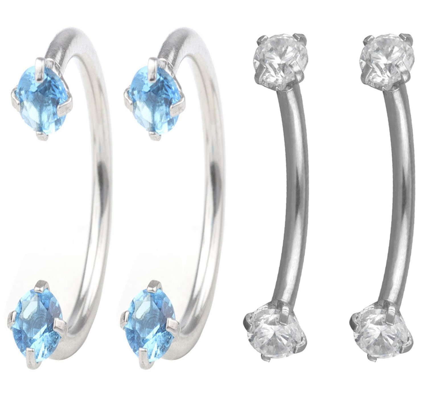 FB 16G 10mm Stainless Steel Cubic Zirconia Gem Internally Thread Curved Barbell Eyebrow Nose Ring Piercing Jewelry.