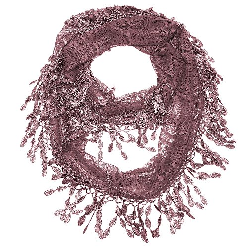 Falari Women Lace Infinity Loop Scarf With Fringes Polyester Rosewood YH15-46 - Knit Fringe Scarf