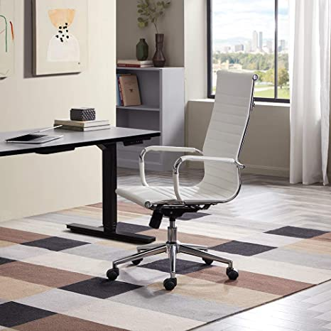 Super Belleze Modern High Back Ribbed Executive Faux Leather Upholstered Conference Tilt Adjustable Height Office Desk Chair White Gmtry Best Dining Table And Chair Ideas Images Gmtryco