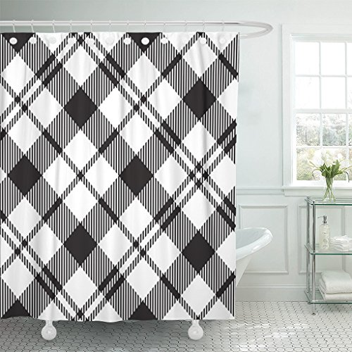 TOMPOP Shower Curtain Gray Plaid Black Watch Milytary Tartan Diagonal and White Abstract Arts Waterproof Polyester Fabric 72 x 72 inches Set with ()