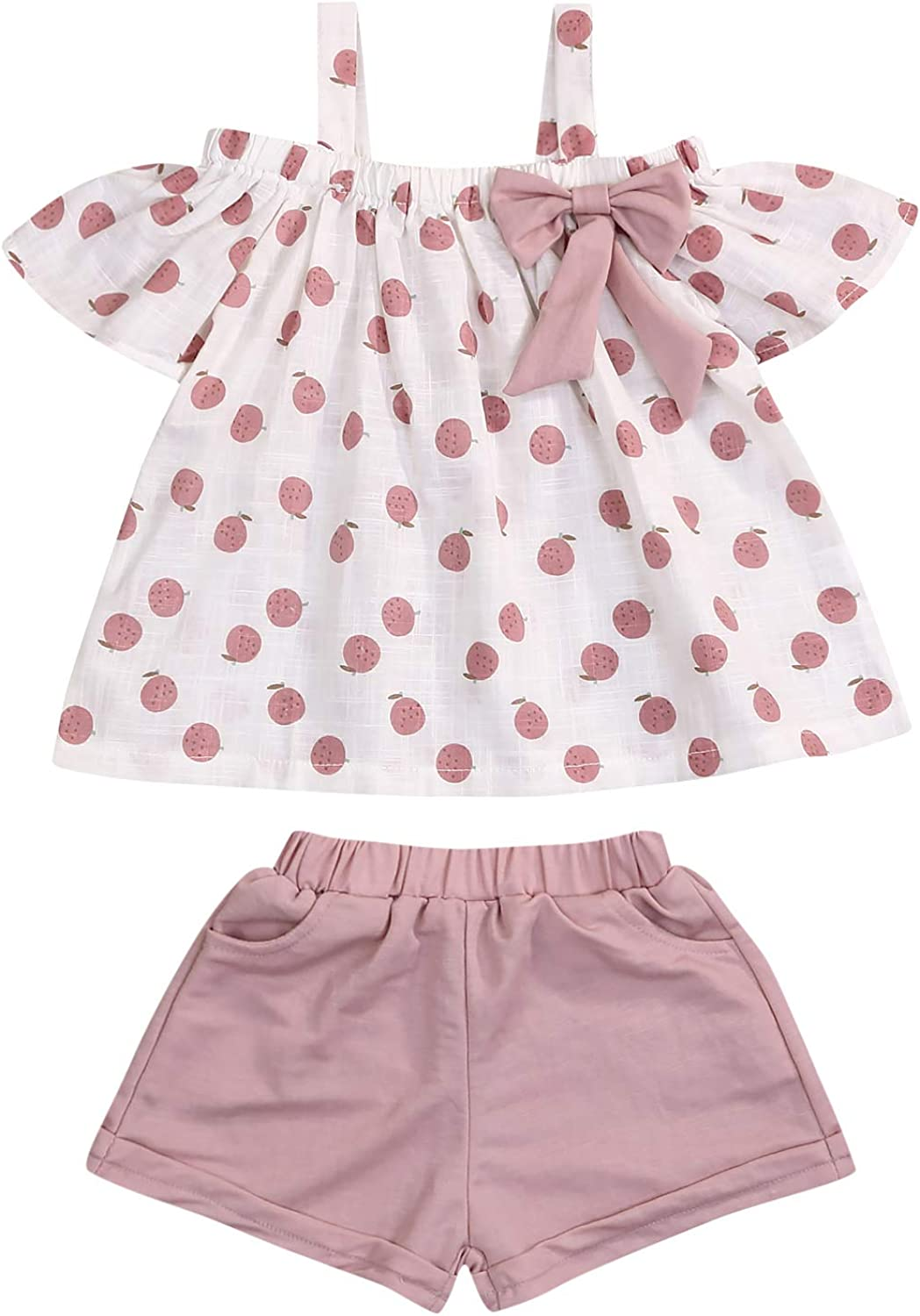 Girls Ruffled Print Top Shirt Floral Pants Shorts Children Outfit Suit 2pcs