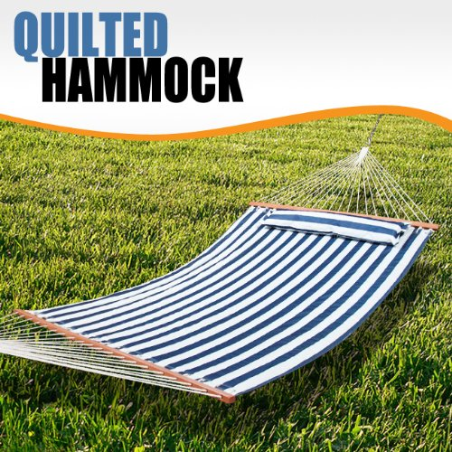 Quilted Pillowtop Hammock Cotton Outdoor Patio Spreader Bar