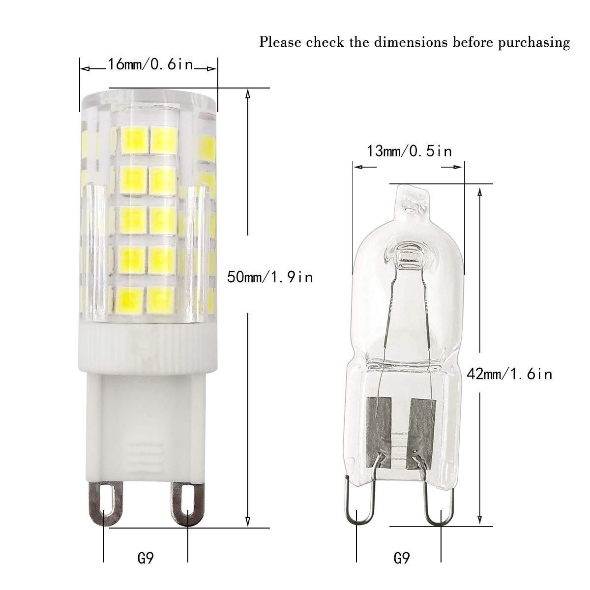 ZHENMING G9 LED Light Bulbs Warm White Dimmable G9 Base G9 Bulbs for Home Lighting G9 Bin-pin Base Pack of 5 450LM,Warm White 3000K AC 110V 5W Equivalent 50W Halogen