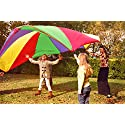 Kenley 12 Foot Play Parachute for Kids - Multicolored Children Toy for Outdoor Games Sports Activities Gymnastics Exercises - 8 Reinforced Handles & Storage Bag