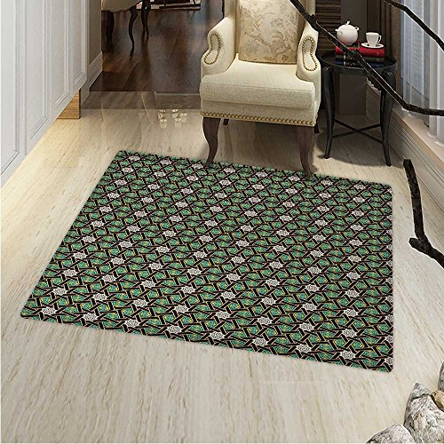Oriental Dining Room Home Bedroom Carpet Floor Mat Traditional Arabesque Pattern with Stripes Ornamental Geometric Design Non Slip rug 55