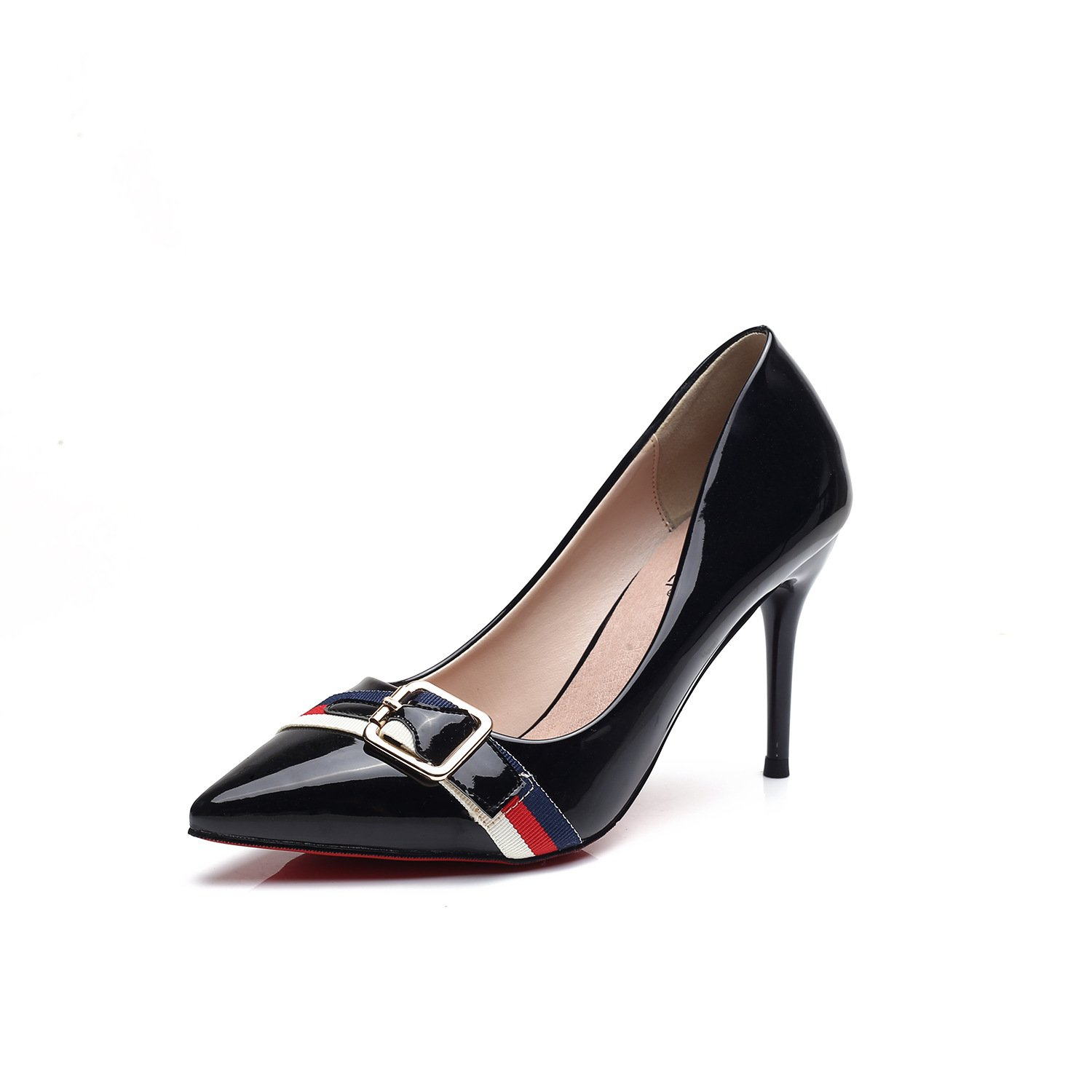 The high-heel shoes fine with the tip of European and American light single shoes women shoes spell color high-heeled shoes, Black,36