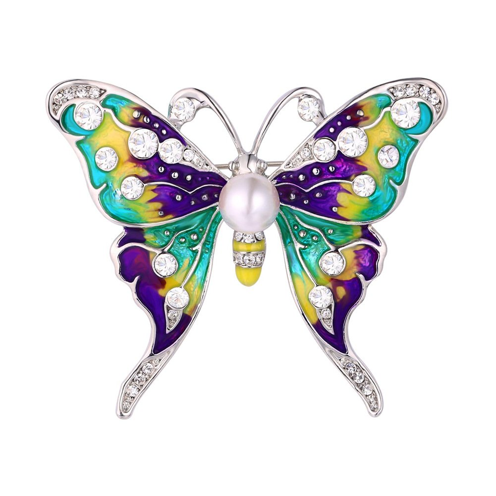 Butterfly Brooch & Pin Vintage Large Enamel Corsage Lot Wedding Brooch Platinum Plated
