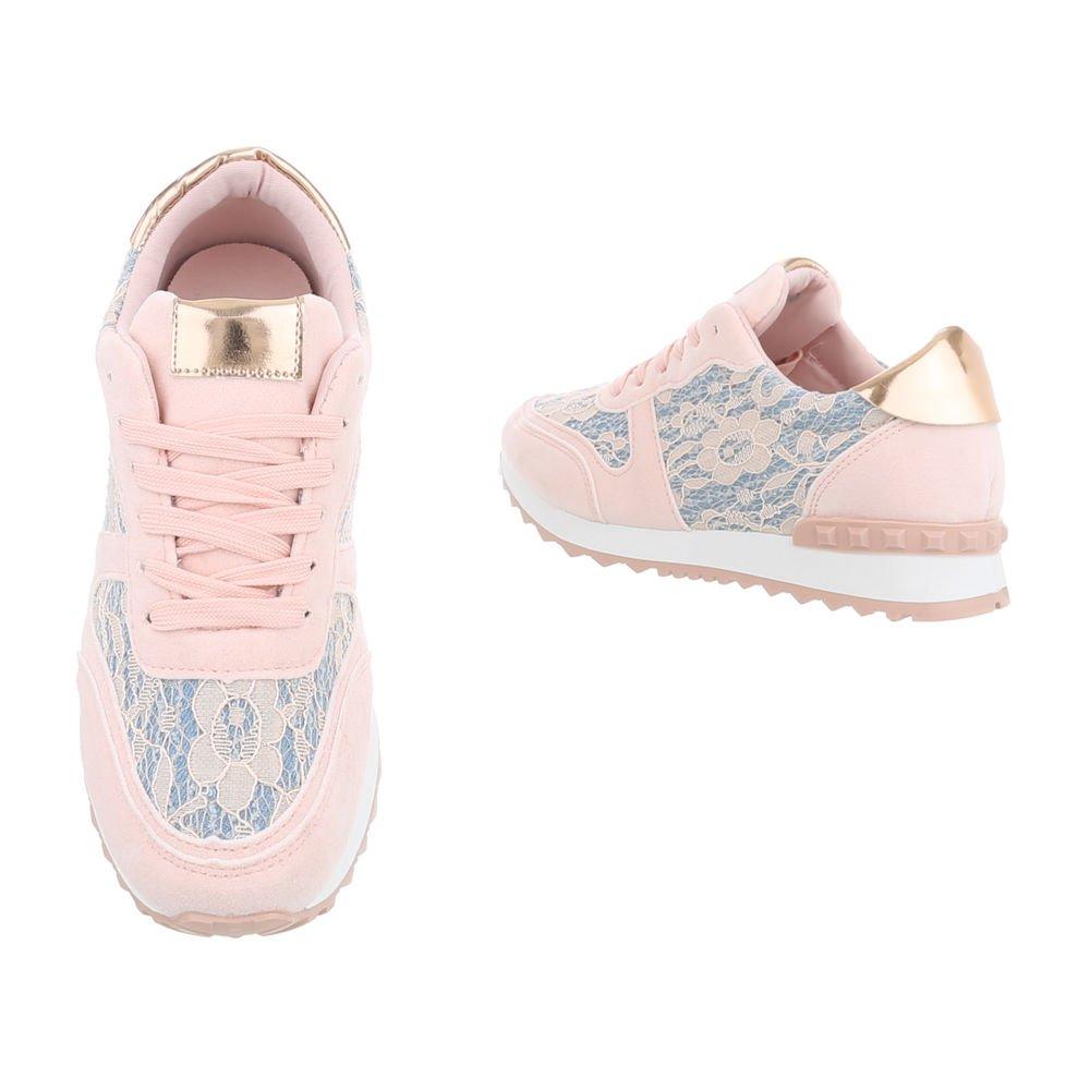 Ital-Design Sneakers Low Damenschuhe Schnürsenkel Freizeitschuhe Hellrosa Hellrosa Hellrosa G-100 01df44