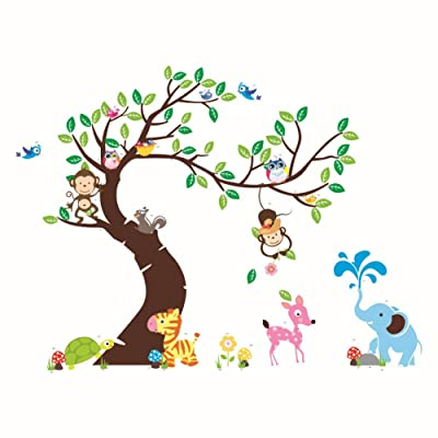 "Hozoyo The owl Monkey Paradise"" Lovely Blooms Zoo Nursery Children's Room Decorative Wall Stickers Kids Vinyl Sticker Home Decoration Colorful, 90CM: Baby"