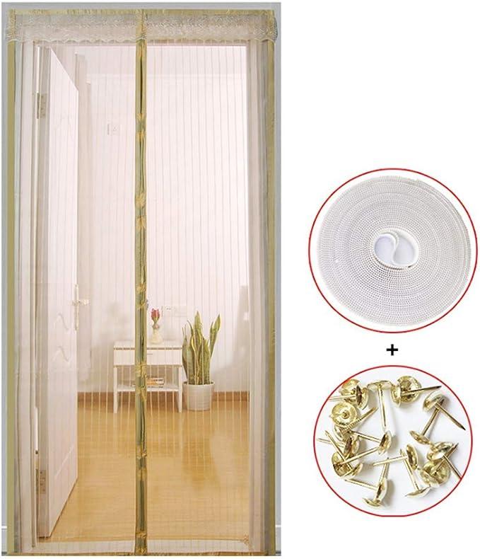 Puerta de pantalla magnética contra la mosca del insecto del mosquito cortina del acoplamiento de tabique manos libres de instalación rápida Mantenga aire fresco en los insectos hacia fuera for puerta: Amazon.es: