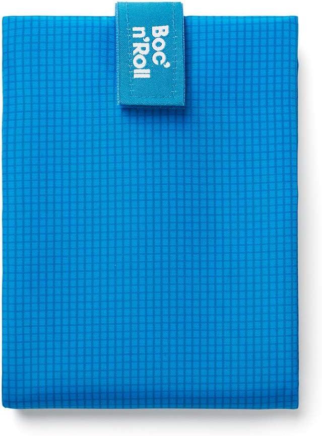 Roll'eat - Boc'n'Roll Active - Bolsa Merienda Porta Bocadillos Ecológica y Reutilizable sin BPA   Funda Bocadillo con Cierre Fácil Ajustable (Azul)