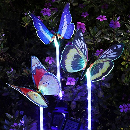 YUNLIGHTS Outdoor Solar Garden Lights, 3 Pack Color Changing Solar Stake Light, Fiber Optic Butterfly with Purple LED Light Stake for Garden Patio Backyard Decoration by YUNLIGHTS