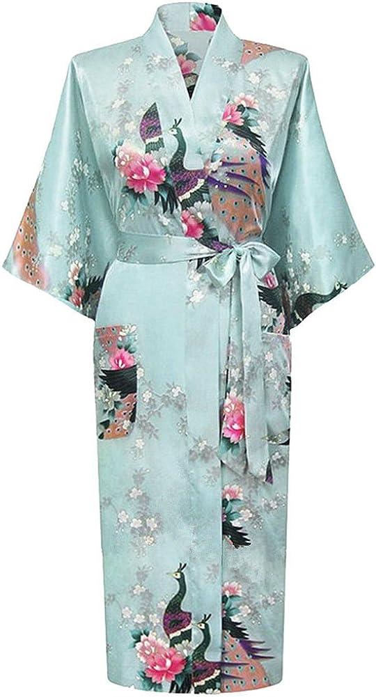 HonourSport Womens Peacock Kimono Long bathrobes Dressing Gown Japanese Robe Dress Ladies Silk