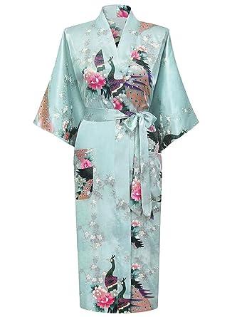 d791c860c77e HonourSport-Kimono Japonais en Satin Sexy Robe de Chambre Peignoir-Femme  (Azur,