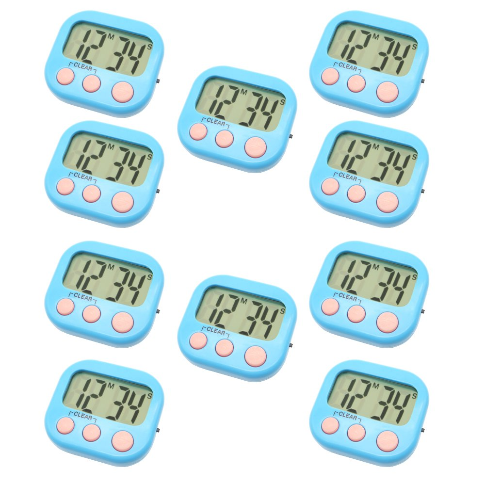 Digital Kitchen Timer Magnetic Back Big LCD Display Loud Alarm Minute Second Count Up Countdown With ON/OFF Switch For Kitchen, Homework, Exercise, Game (10 Blue)