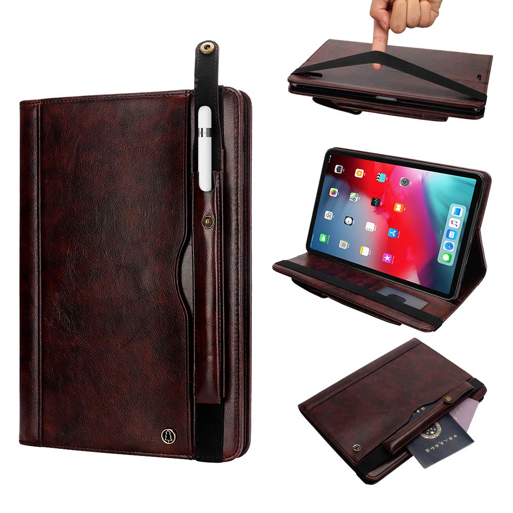 11 Inch iPad Case 2018, YiMiky Folding Slim Case Auto Sleep Wake Book Cover with Credit Card Slots Folio Case Stand Function Full Body Protection Cover for iPad Pro 11 Inch - Dark Brown